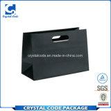 Bolsa de papel impresa insignia de encargo del negro de la cartulina