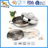 Курильщица нержавеющей стали 4 PS установленная с сковородой (CX-SR0401)