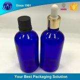 15mlは青いガラス精油のびんのための銀製のAlumiteのガラス点滴器の帽子のあたりで卸し売りする