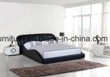 둥근 침대 머리 현대 침실 가죽 퀸 배드