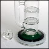 Conduite d'eau en verre de fumage de nid d'abeilles de Perc de percolateur de cuvette de joint de Straigt de tube de narguilé triple de tabac
