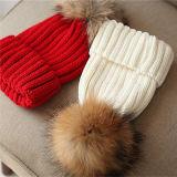 Cappello di lavoro a maglia delle lane del cappello del cuoio della sfera della pelliccia del Raccoon con pelliccia POM Poms