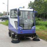 Vassoura automotora elétrica da folha com cabine