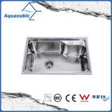 Compteur ci-dessus SS 201 répandue évier de cuisine (ACS6546)