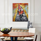 Stretched Wall Art Screaming Chook Head Oil Paintings for Home Decoration