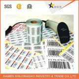 Etiqueta impressa personalizada da etiqueta de código de barras do papel térmico da impressão do vinil do rolo