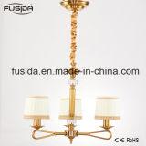 Indicatori luminosi Bronze arabi del lampadario a bracci con bianco e lo schermo D-6017/3 del tessuto dell'oro