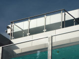 Steel Post를 가진 옥외 Stainless Steel Glass Railings
