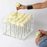 관례를 가진 높은 투명한 아크릴 신선한 꽃 상자