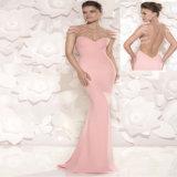 Rosafarbenes Raupe-Blumen-Satin-Nixe-Partei-Abschlussball-Kleid-Abend-Kleid