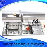 Exportación de acero inoxidable fregadero de la cocina con placa y cuchillo estante