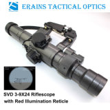 Military Riflescope padrão com Svd 3-9X24 Red Illuminated Reticle Rifle Escopo