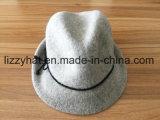 La moda de lana tejida sombrero Fedora con arco para la Mujer