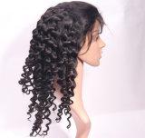 100% реального человеческого волоса бразильского кружева шелковистой глубокую женщин в полной мере кружева Wig кривой