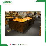 Crémaillère d'étalage en bois de fruits et légumes d'épicerie