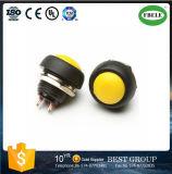 interruttore di pulsante rotondo off- giallo di 12VDC~250VAC piccolo (SOPRA) 1A 12mm (FBELE)
