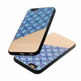 Caja del teléfono móvil de la goma TPU de la PU para iPhone-Azul