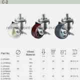 Roue en caoutchouc polyuréthane Thread Haut de la Roulette industrielle de la tige (C-2)