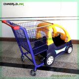 スーパーマーケットの圧延の赤ん坊の買物車手のトロリー