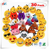 "Emoji KeychainのDreampark Emojiのキーホルダーの小型プラシ天の船尾の枕、子供のためのパーティの記念品、クリスマス/誕生会は30の2つを""セットした供給する"