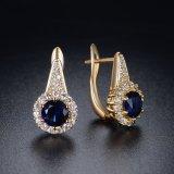 濃紺のジルコンの女性のギフトの人工的な宝石類のクリップ式イヤリング