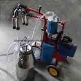 La mano del pistón del motor eléctrico funciona una máquina de ordeño de vaca cuchara