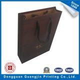 Personnalisé de haute qualité Texture en bois Brown Kraft Paper Shopping Bag