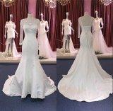 Vestido de casamento nupcial Wgf184 da sereia longa do cetim da luva