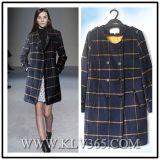Горячая продажа женщин модным дизайнером зимний шерсть Длинная куртка