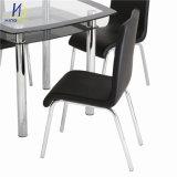 Preiswerter Polsterung-Esszimmer-Entwurf chromiertes Metall und PU, die Stuhl speist