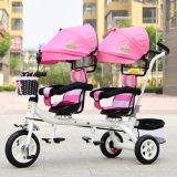 Comercio al por mayor el doble de asiento de bebé gemelos triciclo triciclo infantil cochecito doble pedal con plegado