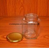 8 oz jarra de vidro hexagonal de molho shoyu, massas
