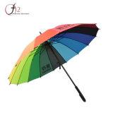 새로운 도착 다채로운 플라스틱 손잡이 선전용 똑바른 무지개 골프 우산