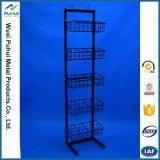 Стеллаж для выставки товаров полки провода металла двойного пола сторон стоящий (PHY3031)
