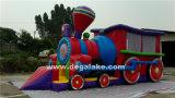Combinação de castelo inflável com trem inflável, trem de salto de trem