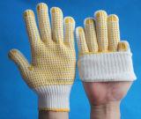 Отбеленный белый работая PVC перчаток покрыл перчатку на перчатке хлопка МНОГОТОЧИЯ PVC перчаток ладони поставленной точки PVC