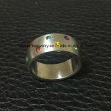 도매 색깔 돌 스테인리스 형식 보석 반지 (CZR2541)