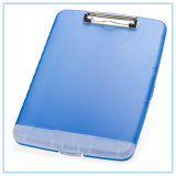 Caixa de armazenamento magro da prancheta dos acessórios do escritório, azul translúcido