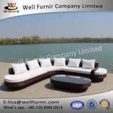 Well Furnir 6 Seaters Round End Extra-Large Lounge Rattan Sofa Suite