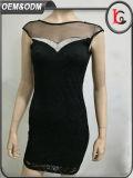 Заплатки сетки Capsleeve 2017 платье клуба самой последней платьев партии повелительниц конструкции черной сексуальное
