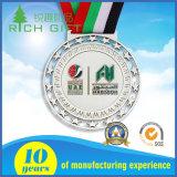 熱によって印刷される締縄が付いているFactory Direct Sale Race Medal Sports Corporation金属のエナメルメダル