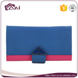 Raccoglitore di cuoio Handmade della moneta dell'unità di elaborazione di colore di stile blu della chiusura lampo