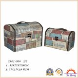 2 PC 직물 인쇄를 가진 나무로 되는 고대 여행 가방 저장 상자 선물 상자