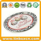 円形の金属の錫のサービングの皿