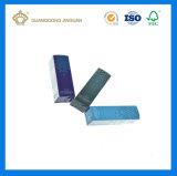 Rectángulo de papel de empaquetado plegable barato del cosmético ULTRAVIOLETA de la impresión de la tarjeta del oro para el suero poner crema (insignia grabada)