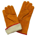 Перчатки заварки зимы Split кожи Cowhide подкладки горжетки полные