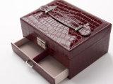عصريّ مبتكر [بو] جلد مجوهرات بنية صندوق