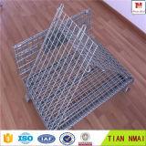 Jaula de acero plegable del almacenaje del envase del acoplamiento de alambre