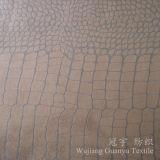 Tissu de cuir de polyester de somme de suède de configuration de crocodile pour le sofa