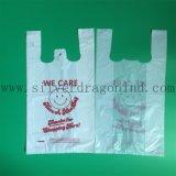 白いカラー印刷されるロゴのプラスチックT-Shrit袋